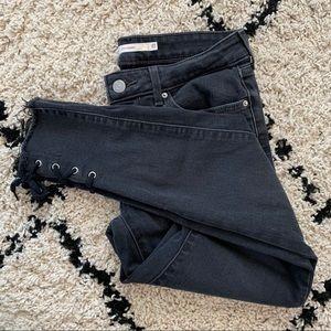 Levi's 711 lace up hem skinny jeans